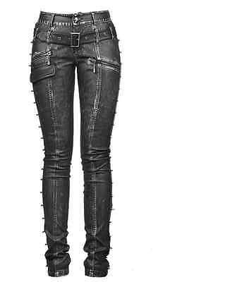 New PUNK RAVE Heavy Metal Rock Gothic Leather Black&Silver pants K-170 FAST POST | eBay