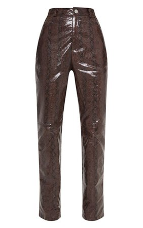 Brown Faux Leather Snakeskin Trouser | PrettyLittleThing