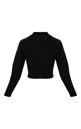 Black Cropped Knitted Jumper   Knitwear   PrettyLittleThing