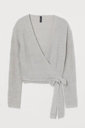 Short Wrapover Cardigan - Gray