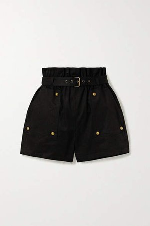 Belted Cotton And Ramie-blend Twill Shorts - Black