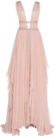 Caged-Bodice Silk-Chiffon Gown