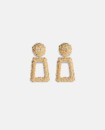 Zara Gold textured earrings