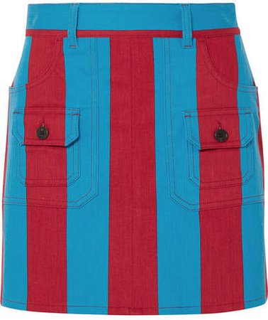 Striped Denim Mini Skirt - Blue