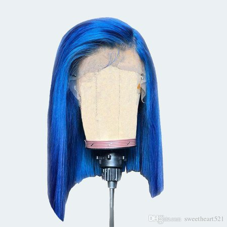 Blue Color Short Bob Style Synthetic Lace Front Wig Natural Hairline Heat Resistant Fiber 3 Inch Side Part Cosplay Party Wigs For Women Womens Wigs Affordable Lace Front Wigs From Sweetheart521, $29.4| DHgate.Com