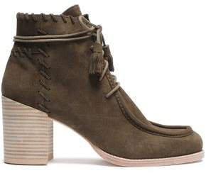 Whipstitched Suede Ankle Boots