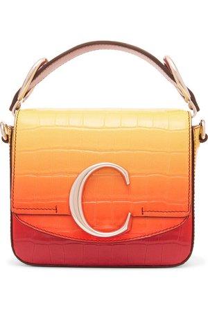 Chloé   Chloé C ombré croc-effect leather shoulder bag   NET-A-PORTER.COM