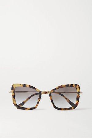 Tortoiseshell Oversized cat-eye tortoiseshell acetate and gold-tone sunglasses   Miu Miu Eyewear   NET-A-PORTER