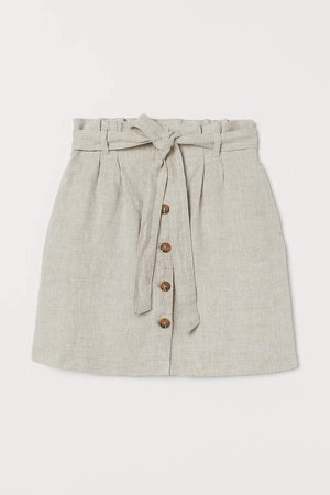 Paper-bag Skirt - Beige