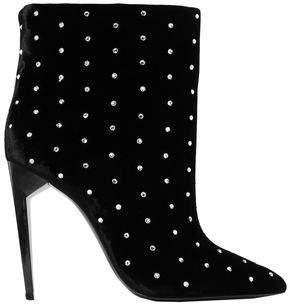 Freja Crystal-embellished Velvet Ankle Boots