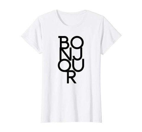 Amazon.com: Womens Bonjour Cute Stylish Paris France French Graphic Top Fashion T-Shirt: Clothing