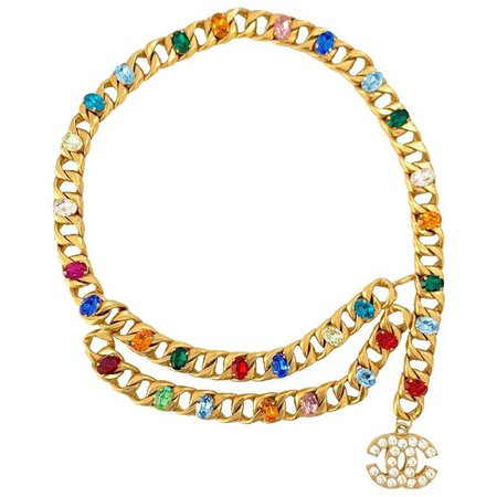 CHANEL Chain And Multicolored Cabochons Belt For Sale at 1stdibs