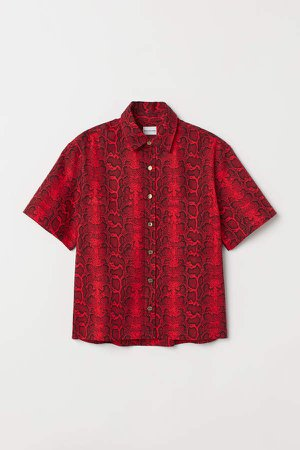 Boxy Cotton Shirt - Red