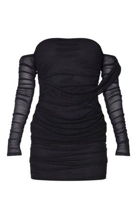 Tall Black Mesh Wrap Bodycon Dress   Tall   PrettyLittleThing