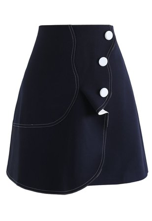 Subtle Wavy Flap Skirt in Navy - Retro, Indie and Unique Fashion