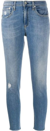 Mid-Rise Distressed Cropped Jeans