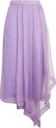 Asymmetrical Silk Organza Midi Skirt