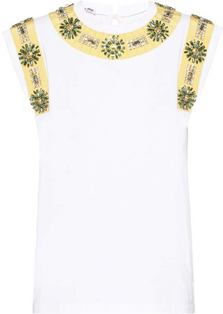 Crystal-Embellished Sleeveless Blouse