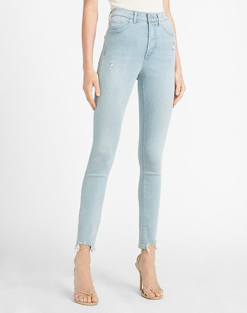 High Waisted Ripped Step Hem Skinny Jeans