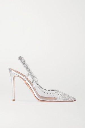 Heaven Crystal-embellished Pvc Slingback Pumps - Silver