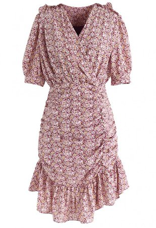 Floret Ruffle Ruched Midi Dress in Pink - NEW ARRIVALS - Retro, Indie and Unique Fashion