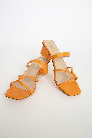 Mango Orange Sandals - High Heel Sandals - Strappy Slide Sandals - Lulus