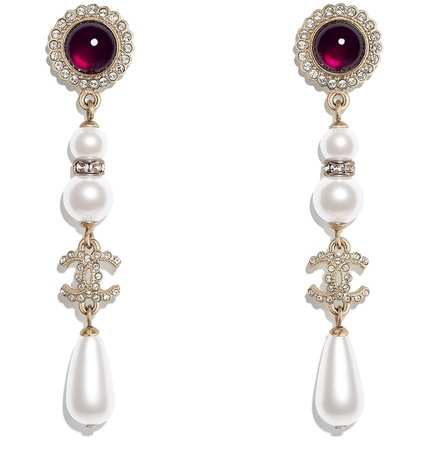 Earrings, metal, glass and strass pearls, gold, mother of pearl white, red and crystal - CHANEL