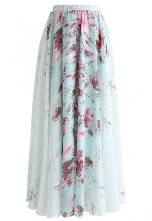 Greenery Watercolor Maxi Skirt - NEW ARRIVALS - Retro, Indie and Unique Fashion
