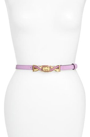 Gucci Interlocking-G Buckle Skinny Suede Belt | Nordstrom