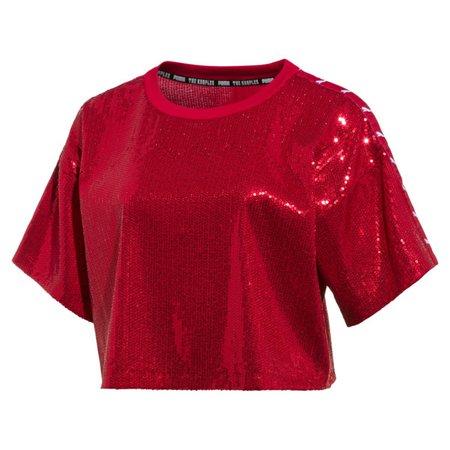 PUMA x THE KOOPLES Womens Sequin Crop Top   High Risk Red   PUMA T-Shirts   PUMA United States