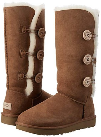 Amazon.com | UGG Women's Bailey Button Triplet II Winter Boot, Chestnut, 8 B US | Mid-Calf