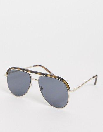 ASOS DESIGN aviator sunglasses with brow bar in tort | ASOS
