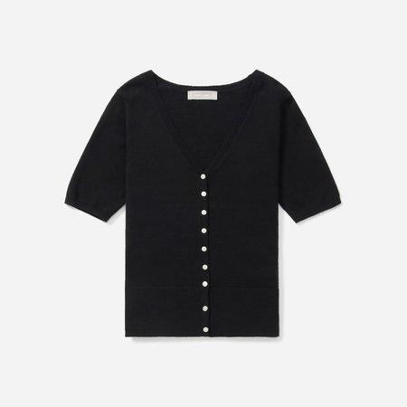 Women's Cotton–Merino Short-Sleeve Cardigan | Everlane black