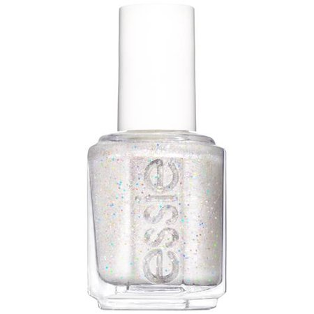 let it bow - crisp white glitter nail polish - essie