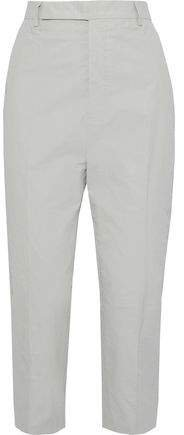 Cropped Coated Linen-blend Twill Straight-leg Pants