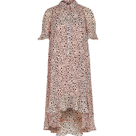 Pink spot print frill midi shirt dress | River Island