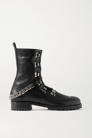 20 Chain-embellished Smooth And Lizard-effect Leather Ankle Boots - Black