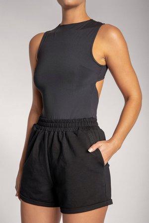 Gabriella Cut Out back Tank Bodysuit - Black - MESHKI U.S