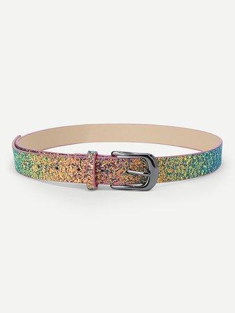 Metal Buckle Sequin Belt
