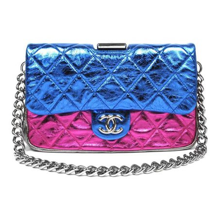 Chanel Metallic Pink & Blue Quilted Leather Large Flap Bag