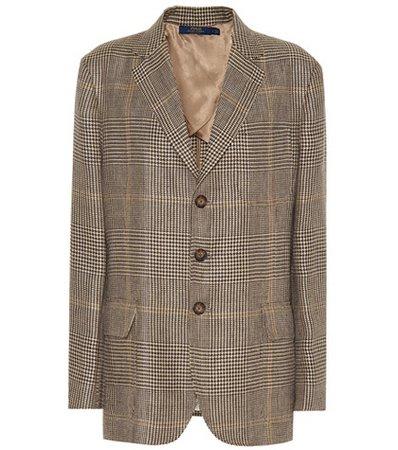 Plaid linen blazer