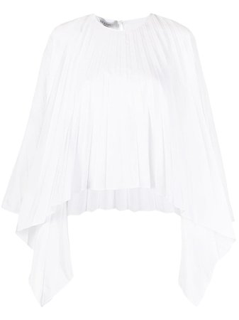 Valentino, pleated bell-sleeves top