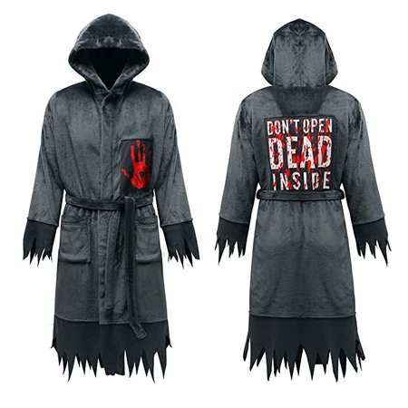 Anna King Men's Halloween Costume Horror Robe Hooded Luxurious Cool Cosplay Capes Dark Grey