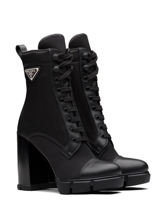 Prada logo-plaque lace-up boots black 1T427MF1103C1F - Farfetch