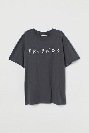Oversized Printed T-shirt - Gray
