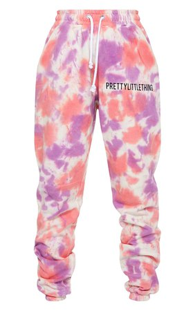 PRETTYLITTLETHING Pink Tie Dye Joggers | PrettyLittleThing USA