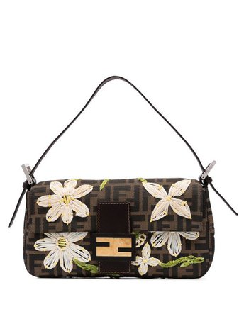 Fendi Pre-Owned Floral Embroidery Baguette Bag - Farfetch