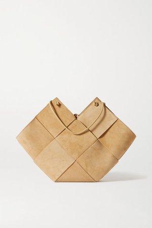 Flower Basket Medium Intrecciato Suede And Leather Tote - Beige