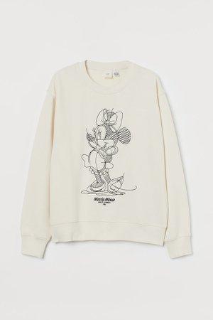 Sweatshirt with Printed Design - Beige