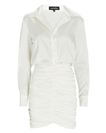 Retrofête Natalia Ruched Satin Shirt Dress | INTERMIX®
